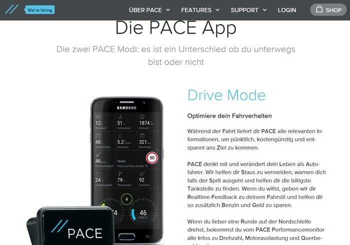Pace.car Gutschein App