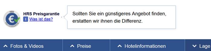 HRS Gutschein Preisgarantie
