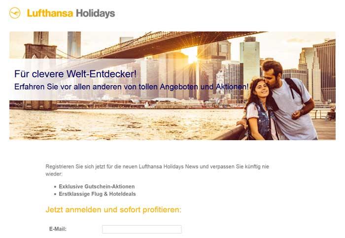 Lufthansaholidays com Gutschein Newsletter