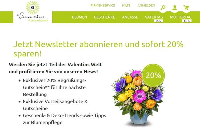 Valentins Gutschein 20 Prozent